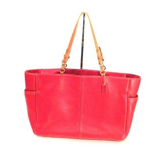 COACH red pebbled leather large zip-top tote